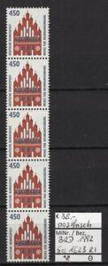 BRD 1992 Sehenswürdigkeiten (XII) MiNr. 1623 R I 5er-Streifen mit Zählnummer