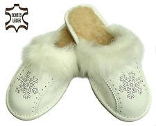 Damen Winter HausSchuhe aus Leder in weiß Pantoffeln mit Schafwolle 37 - 41 NEU