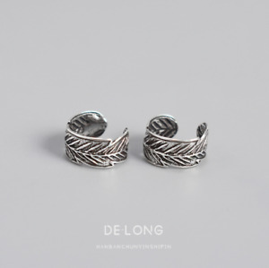 A Pair Retro925 Sterling Silver Clip Ear Cuff Earrings Wide Band Leaf Gift C5