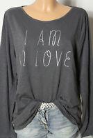 s.Oliver Shirt Gr. 46 dunkel-grau Damen Langarmshirt/Shirt mit Aufschrift