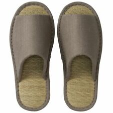MUJI Tatami slippers front opening, L linen Gray from Japan DHL Fast Ship NEW