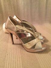 Fioni Night Woman's Glitter High Heels. Champagne. Size 7.  Strappy. Party Glitz