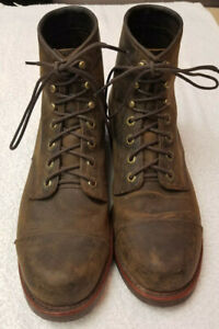 10 Chippewa Boots Katahdin Iron Works Engineer Made in USA brown leather 10D
