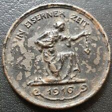 ✚8380✚ German WW1 Gold Donation Commemorative Iron Medal 1916 IN EISERNER ZEIT