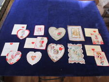 Vtg Valentine Card 10pc Lot All wth Paper Lace Used Some Hand Made Mf16