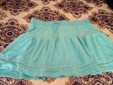CUTE Womens XL Fashion Bug Turquoise Blue TERRY MINI SKIRT COVERUP Ruffle BEACH