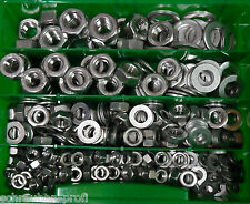 300 pezzi acciaio inox scatola SCORTA DADI U DISCHI DIN 934 DIN 125 M6 - M12
