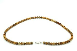Mens Necklace Natural Jasper Beads with 925 Sterling Silver Clasp Handmade in UK