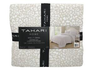 NEW Tahari King Taupe Tan Cream Reversible Coverlet Animal Print Jungle 106x92