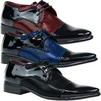 Mens Patent Leather Contrast Shoes Wedding Oxford Lace Up Formal Brogues