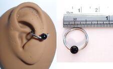 Black Onyx Stone Bead Ear Cartilage Conch Piercing Hoop Ring 16 gauge 16g