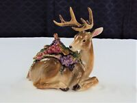 FITZ AND FLOYD CRISTMAS DEER W/REMOVABLE GRAPES&LEAVES LID WITH FAWN INSIDE