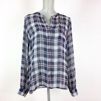 Joie M Silk Plaid Blouse Chiffon Rolled Up Long Sleeves V neck Button Up