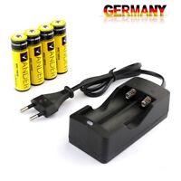 4x Li-ion Akkus 3.7V  Wiederaufladbare Batterie Ladegerät fur Taschenlampe