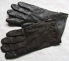 VINTAGE WOMENS SOFT LEATHER GLOVES 1970'S 1980'S DARK BROWN RETRO LARGE 7.5