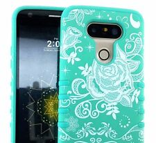 For LG G5 - Hard & Soft Rubber Hybrid Skin Fit Case Cover Armor Teal Rose Lace