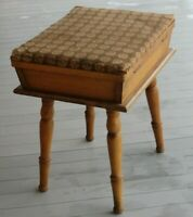 VTG 40s SOLID MAPLE WOOD SEWING BOX STORAGE BOX FOOT STOOL PAXTON PRODUCT USA