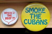 Vintage Wendy's Where's the beef Pin Button - Smoke the Cubans Pin - VTG buttons