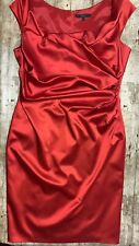 COAST DRESS Red Rich Satin WOMENS Size 16 Drape Flattering MIDI Christmas MIDI