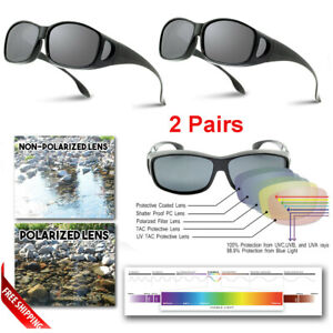 2 Pairs Polarized Fit Over Sunglasses Glasses Driving Glasses Mens Womens UV400