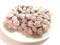 20 Mini Light Pink Roses Mulberry Paper Flowers Wedding Card Scrapbook Dolls15mm