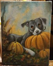 ORiginAL Oil Painting~~Pit Bull Terrier~dog~~whimsical~Pumpkin~Fall~Hand Painted