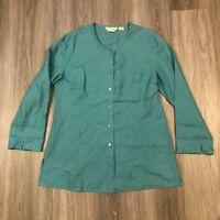 Orvis Womens Medium Linen Button Up Shirt Top Turquoise
