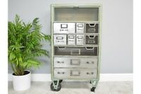 Industrial Metal & Wooden Cabinet With Display Compartments & Storage Drawers