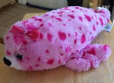 "THE PETTING ZOO PINK SPOTTED SEAL W/HAIRBOW 16"" LONG BEANBAG PLUSH"