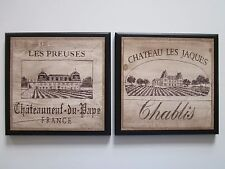 Wine Crate Style Plaques 2 Decor Signs Kitchen French vineyard pictures Chablis