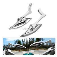2x Chrome billet Spear Motorcycle Mirrors Harley Davidson Softail FXSTI Custom
