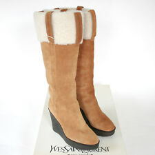 YVES SAINT LAURENT Rive Gauche brown suede shearling lined Aspen boots 38 NEW