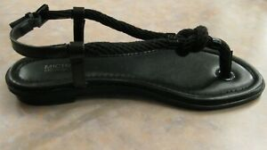 NIB - $120 Michael Kors Holly Leather and Rope Sandal Thong Black - size 5.5 M