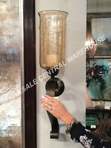 """MID CENTURY XXL 30"""" ANTIQUED RESTORATION METAL GLASS GLOBE WALL CANDLE SCONCE"""