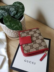 *NWT*Gucci women's classic wallet monogram canvas/leather bifold red wallet