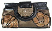 R&Y Augousti Black Brown Leather Handbag Clutch Purse Stingray Trim Floral
