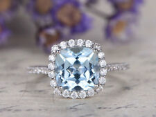 1ct Cushion Cut Blue Topaz Diamond Solitaire Engagement Ring 14k Solid WhiteGold