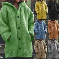 Womens Warm Knitted Button Hooded Hoodie Cardigan Coat Winter Jumper Sweater THU