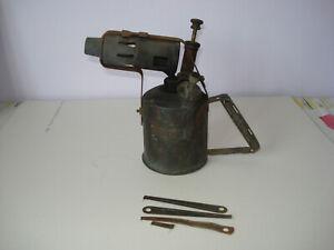 RARE VINTAGE ANTIQUE SH & S BRASS PARAFFIN / PETROL BLOW LAMP TORCH