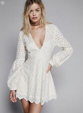 Pre Owned FREE PEOPLE In the Stars Lace Dress Ivory Eyelet Cotton Blend 2 or XS