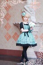 Sweet Lolita Robe ♦ onepiece dress ♦ Cosplay ♦ Comme neuf Vert + Noir avec dentelle