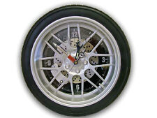 GTec 350mm Dia Alloy Wheel/Tyre Wall Clock (Black