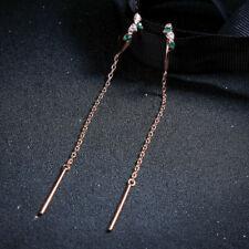 Thread Long Fine Marriage Elegant P2 Earrings Nails Golden Rose Zircon Green