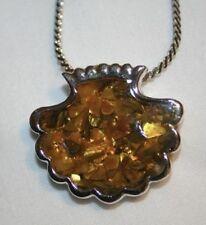 Ambertone Speckled Scallop Shell Silvertone Necklace ++++++++