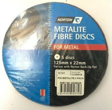 NORTON METALITE FIBRE DISCS FOR METAL P50  (PACKS OF 5) 125 MM X 22 MM