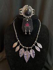 Paparazzi Silver/Black Stone Leaf Necklace & Cuff Bracelet