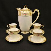 Noritake Chocolate Pot Set of 4 Cups & Saucers Japan Hand Painted Gold 1918-1931