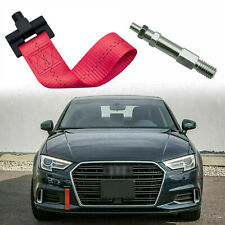 For Audi A4 A5 A7 S4 S5 Red Alloy Nylon Strip Front Bumper Track Racing Tow Hook