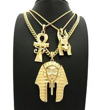 "KING TUT & ANKH & ANUBIS EGYPTIAN PENDANT 24"" & 30"" CHAIN NECKLACE SET RC2449G"