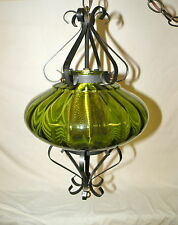 Vintage Wrought Iron Scrolled Green Globe Swag Light Lamp w/Brass Diffuser
